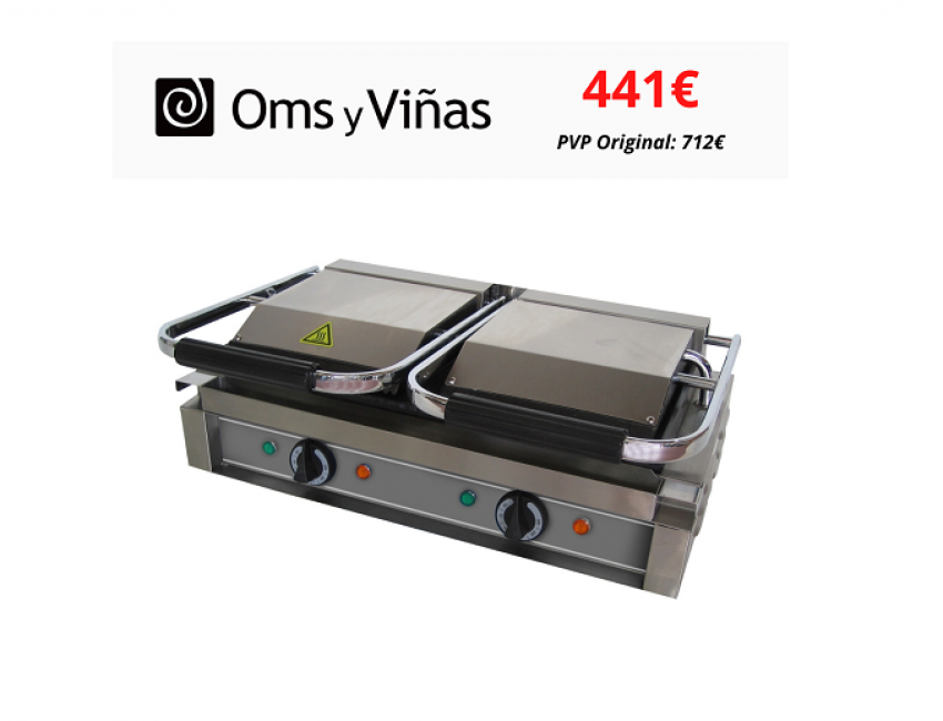 OMS Y VIÑAS Sandwichera doble placa lisa – Precio exclusivo Outlet