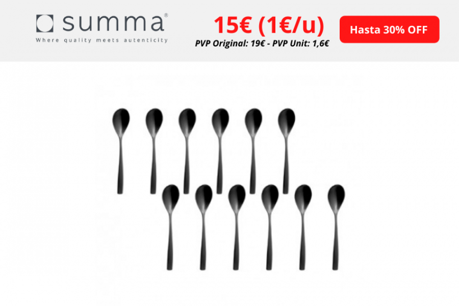 Summa – Cucharita Café-lunch Sinxelo negro. Set de 12 unidades hasta 30% de descuento ¡Oferta exclusiva!